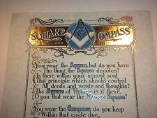GOLD Masonic Square Compass POEM art print Freemasonry ring Master Mason