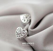 Retro Tibet Silver delicate Hallow Flower Heart post stud Earrings gift box K30A