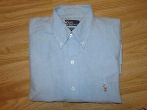 Mens POLO by RALPH LAUREN Yarmouth Oxford Blue Shirt Top Sz 16.5 / XL Great