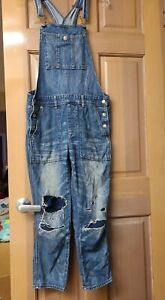 American Eagle Outfitters Womens Blue Denim Tomgirl Overalls Jeans Size Small