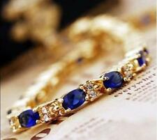 """Wholesale! Exquisite Blue Stone Sapphire Cutting 18K Gold Plated Bracelet 6.7"""""""