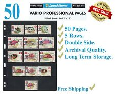 50 Lighthouse Vario 5S Stamp Stock Pages 5 Rows Double Side Archival Black Sheet