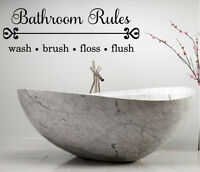 BATHROOM RULES VINYL WALL ART DECAL LETTERING WORDS HOME DECOR STICKER