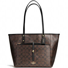 NWT COACH F54700 Coach City Tote With Pouch In Signature Shoulder Bag Bk/Brown