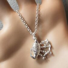 new sterling silver opening bagpipes pendant & chain