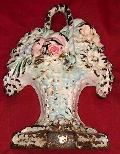 Vintage Hubley No. # 8 Cast Iron Doorstop Wicker Flower Basket Original Paint
