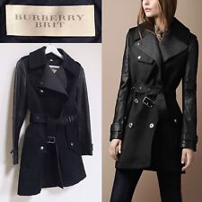 BURBERRY BRIT trench en cuir noir manches perfecto MAC XS UK 4 - 6