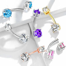Double Round CZ Gems Prong Set 316L Surgical Steel Navel Belly Button Ring 14g