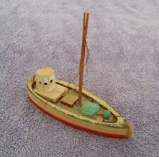 ANTIQUE Toy Boat Wood Wooden (Penco?) Red Ship Vintage 5.5 in Model Sail Child