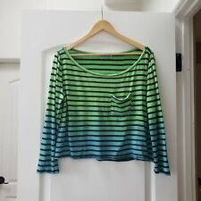 Michael Stars Women's One Size Fits All / Medium Long Sleeve Blue Green Striped
