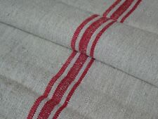 Antique European Feed Sack GRAIN SACK Red Stripes # 9467