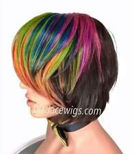 HOT! Rainbow colors 100% Human hair wig