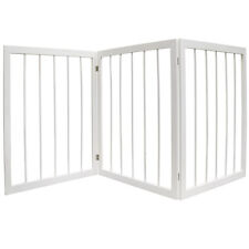 3 Section Wooden Solid Wood Folding Pet Gate - White LS16100