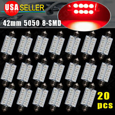 20 PCS 42MM 5050 8-SMD Pure Red LED Festoon Dome Map Door Interior Light Bulbs