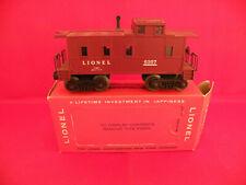 POSTWAR LIONEL #6357 LATE CABOOSE W/PLASTIC TRUCKS AND PERFORATED ORIGINAL BOX N