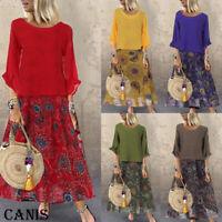 Women 2Pcs Long Sleeve Boho Long Maxi Dress Summer Casual Beach Sundress Loose