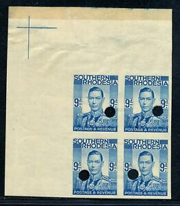 S. RHODESIA 1937 KGV WATERLOW IMPERFORATE PROOFS 9d BLOCK X6 MNH, R! #B201