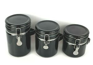 Anchor Hocking Home Collection Canisters Silver Clamp Top Lid Black 3 Piece Set