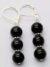 8mm Black Agate Onyx Round Beads Silver Dangle Leverback Hook Earrings PE194