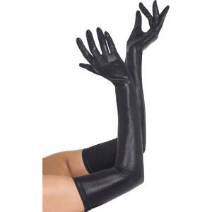 Lack Handschuhe Sexy Damenhandschuhe XL lang Lederoptik schwarz Lackhandschuhe