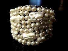 Elly Preston Fresh Water Pearl Cuff Bridal Bracelet SilverTone Wire Bracelet
