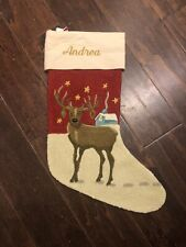 NWOT Pottery Barn Crewel Reindeer Stag Stars  Red Christmas Stocking Mono Andrea