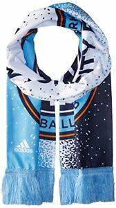 Adidas MLS New York City FC Soccer Sublimated Team Scarf W/ Fringe Blue One Size