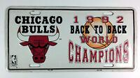Vintage Chicago Bulls License Plate - 1992 Back to Back World Champions Jordan