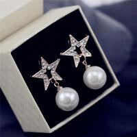 Gold- Ton -Kristallstern mit weißen hängenden Perlenohrstecker
