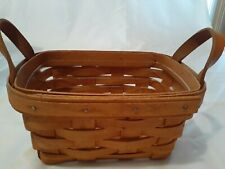 Collectible Longaberger 1995 7 x 5 Rectangle Basket with Leather Handles