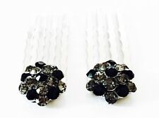 USA Mini Hair Comb Small Swarovski ELMT Crystal Bridal Wedding Silver Black Gray