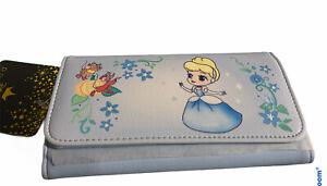 Loungefly Disney Princess Cinderella Chibi Flap Wallet Clutch Blue Gus Jaq New