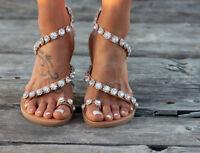 Womens Casual Flat Rhinestone Slingback Sandals Peep Toe Clip Toe Beach Shoes