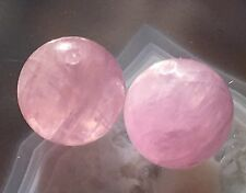 LAVENDER PINK KUNZITE NATURAL GEMSTONE CRYSTAL 8.5mm ROUND BEAD PAIR RICH COLOR