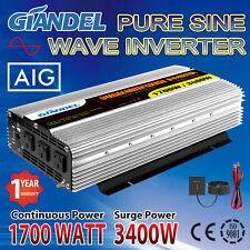 Large Shell Pure Sine Wave Power Inverter 1700W/3400W 12V/240V USA Transistors