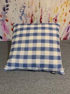 Iliv Luxury White Blue Cotton Cushion,Square/Striped Feather Filling 43x 43cm