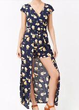 Forever 21 Floral Maxi Dress Skort Romper Bodysuit Open Front Blue Yellow S NEW