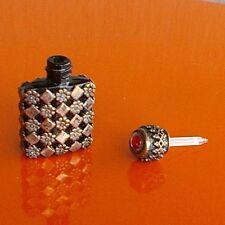 Antique French Perfume Miniature Dram Black Amethyst Scent Bottle pierced silver