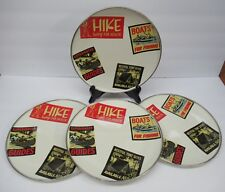 Vintage Style Set of 4 Metal Camping Picnic Plates Hike Boats Fishing Fathers