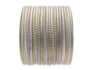 Glass Bangles Indian Classic Sari Bracelet Set Sage Green Lavender Set 2.10 ML