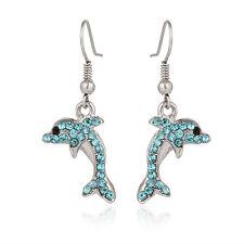 Aqua Dolphin Fashionable Earrings - Fish Hook - Sparkling Crystal