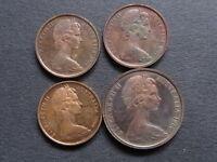 Australia. 1966 : 1 Cent x 3 & 2 Cent x1.  All Proof    (4)