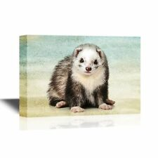 wall26 - Canvas Wall Art - Ferret on Abstract Background - Ready to Hang - 12x18