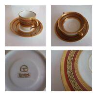 2 tasses 4 soucoupes 1 coupelle porcelaine dorure Limoges LN déco France N4577