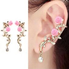 Fashion Lady Gold Rose Leaf Flower Crystal Ear Stud Cuff Earring Women Jewelry J