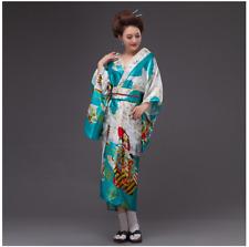 Vintage Japanese Kimono Yukata Haori Costume Geisha Retro Dress Gown with Obi