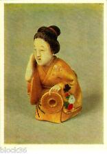 Russian P/CARD Japanese NETSUKE Miniature of XIX century WOMAN DOING HAIRSTYLE