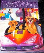 Awesome Brother Birthday Card by Tracks Cards. Dodgems/Dogs Theme.