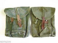 LOT of 2 VTG COLD WAR AK-47 MILITARY 3 CELL GUN MAGAZINE AMMO POUCH CASE BAG (B)