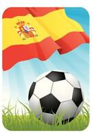 Spain Soccer Ball and Flag Sports Poster 24x36 inch